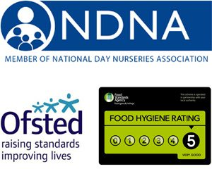 Member of National Day Nurseries Association, Ofsted, Food Hygiene rating of 5