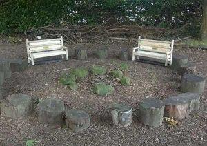 Woodland story corner - toadstool seats