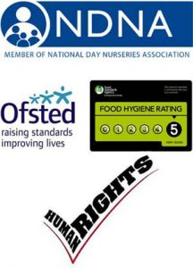 Member of National Day Nurseries Association, Ofsted, Food Hygiene rating of 5, Human Rights